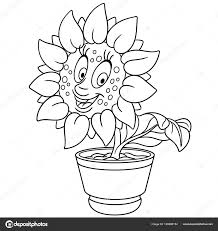sunflower sun flower pot coloring page