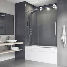 frameless sliding bathtub shower door