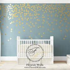 Greenish Light Blue Wall Decals Girls Room Gold Polka Dots Wall Polka Dot Wall Decals