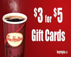 tim hortons 3 for 5 gift card deal