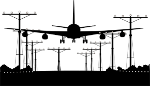 Plane Airport Runway Silhouette Wall Sticker Tenstickers
