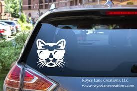 Cool Cat Sticker Cat Car Decal Cat Car Stickers Geek Car Etsy