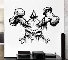 Wall Decal Skull Bones Skeleton Corpse Grave Dead Fire Vinyl Decal Uni Wallstickers4you