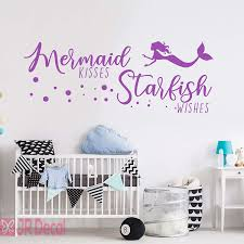 Nursery Wall Stickers Mermaid Kisses Starfish Wishes Mermaid Wall Decal Vinyl Ebay