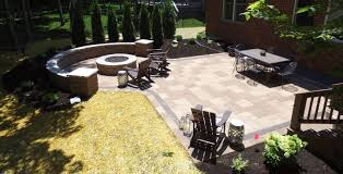 paver patio fire pit seating wall
