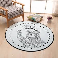 Waliicorners Round Black White Bear Carpet Kids Room Computer Chair Area Rug Creative Cloakroom Floor Mat Children Play Tent Rugs And Carpet Waliicorner S Store