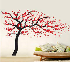 Amazon Com Home Find Red Plum Blossom In Full Bloom Wall Stickers Living Room Bedroom Playroom Nursery Wall Decals Removable Vinyl Stickers Art Home Decor 102 Inchesx66 Inches Black Baby