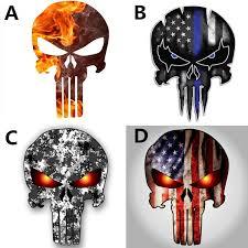 1pc 11x15cm Ghost Rider Car Sticker Punisher Skull American Flag Police Blue Line Decal Car R Punisher Skull American Flag Punisher Skull Punisher Skull Tattoo
