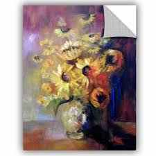 East Urban Home Sunflowers In Vase Removable Wall Decal Wayfair