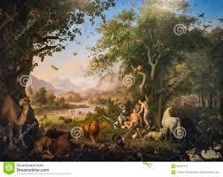 original painting adam eve garden eden
