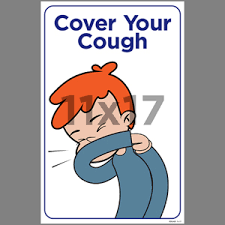 Cover Your Cough Indoor Window Decal English Edu40