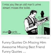 i miss you like an old man s urine stream misses the toilet your