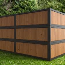 Outdoor Essentials 2 Ft X 6 Ft Pressure Treated Dura Color Sonoma Wood Fence Panel With Black Frame 311444 The Home Depot