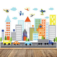 City Wall Decal City Wall Sticker Pastel Colored City Wall Etsy In 2020 City Wall Stickers Kids Room Wall Decals Kids Wall Decals