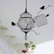 Amazon Com Bibitime Black Birdcage Wall Sticker 2 Birds On Tree Branch Art Home Mural Decor Decals For Nursery Bedroom Home Kitchen