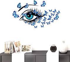 Amazon Com Bibitime Diy Blue Butterflies Vinyl Decal Long Eyelashes Eye Wall Sticker For Women Girls Bedroom Nursery Children Kids Room Decor Living Room Home Pvc Art Mural Home Kitchen