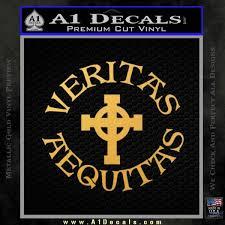 Veritas Aequitas Celtic Cross D1 Decal Sticker Boondock Saints Irish A1 Decals