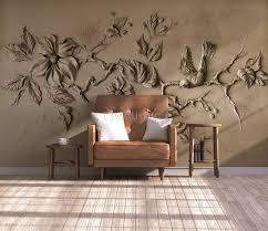 3d Embossed Look Cement Floral Tree Wallpaper Mural Wallmur