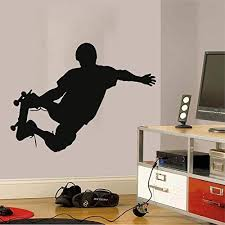 Amazon Com Wall Decal Skateboarder Skate Wall Art Stickers Skateboard Decals Skateboard Wall Stickers Kids Room Removable Home Decor Waterproof 629uk Home Kitchen