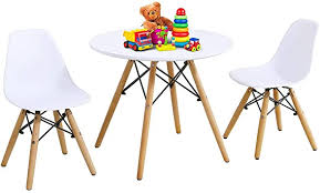 Amazon Com Costzon Kids Table And Chair Set Kids Mid Century Modern Style Table Set For Toddler Children Kids Dining Table And Chair Set 3 Piece Set White Table 2 Chairs Furniture Decor