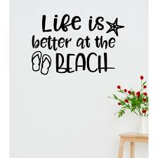 Summer Quotes Wall Decals Life Is Better At Beach Rv Sticker Letters 23x15 Inch Black Walmart Com Walmart Com