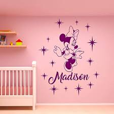 Amazon Com Wall Decals Minnie Mouse Wall Decal Personalized Girl Name Vinyl Sticker Decals Name Minnie Mouse Nursery Wall Decor Kids Room Childrens Bedroom Made In Usa Kitchen Dining