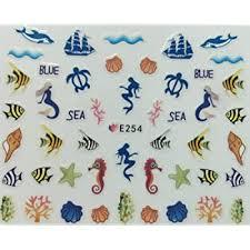Amazon Com Nail Art 3d Decal Stickers Fish Blue Sea Horse Mermaid Sail Boat Turtle Beauty