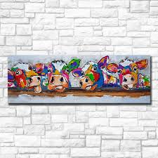Mklql Pop Art Four Cows Behind Fence Wall Canvas Painting Oil On With Free Shipping Worldwide Weposters Com