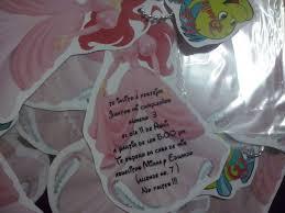 12 Invitacion Con Cadenita Princesa Ariel Sirenita 154 00 En