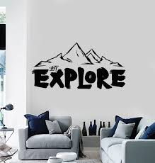 Vinyl Wall Decal Words Let S Explore Mountains Tourism Travel Stickers Wallstickers4you