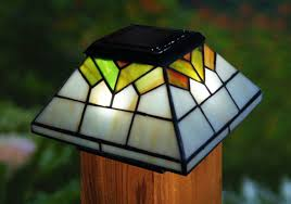 Solar Stained Glass Fence Post Caps For 4x4 And 5x5 Posts Set Of 2