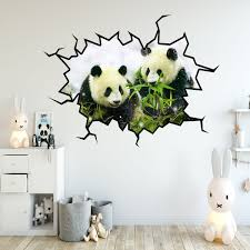 Vwaq Pandas Wall Decals Panda Bear Wall Sticker Hole In The Wall Mural