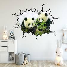 Vwaq Pandas Wall Decals Panda Bear Wall Sticker Hole In The Wall Mural Art Wc25 18 H X 22 W Walmart Com Walmart Com