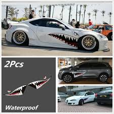 Pair 59 Shark Mouth Tooth Teeth Sticker Vinyl Exterior Decal For Car Side Door For Sale Online Ebay