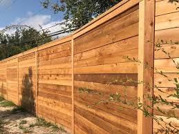 8ft Tall Horizontal Cedar Privacy Fence With Top Ledge And Trim Boards Wood Privacy Fence Privacy Fences Fence Design