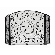 iron fireplace screen fleur de lis living