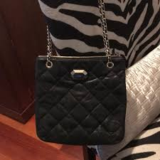 black quilted leather with chain straps