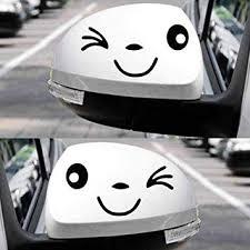Amazon Com 2 Pcs Smiley 3d Mini Car Rearview Mirror Decal Black Automotive