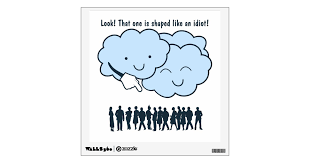 Funny Clouds Mocking Human Shapes Wall Decal Zazzle Com