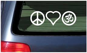 Peace Love Om Symbol Vinyl Window Decal Sticker Yoga Heart Meditation Fun Ebay