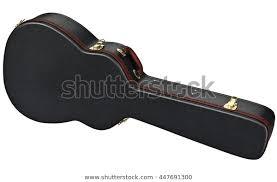 black leather guitar case brown handle