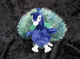Aurora Perry Peacock Blue Green Gray Flopsie Bird Plush Stuffed Animal Toy  | eBay
