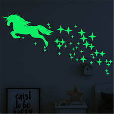 Mega Deal 982e Luminous Unicorn Wall Stickers For Kids Room Home Decor Baby Bedroom Glow In The Dark Stars Wall Stickers Ceiling Home Decor Cicig Co