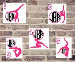 Gymnast Decal Custom Monogram Decal Sticker Gymnastics Dance Etsy Custom Monogram Decal Monogram Decal Monogram Decal Stickers