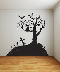 Spooky Graveyard Tree With Bat Wall Decal Halloween Home Decor Black 72in Tall X 74in Wide 1014s Spooky Tree Amazon Com