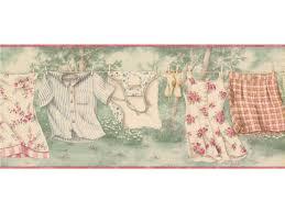 rose hanging laundry wallpaper border
