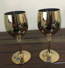 2 bohemia crystal wine glasses gold