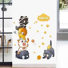 Cartoon Cat Wall Stickers Five Cute Cats Diy Wall Art Decals Decoration For Kids Rooms Boys Girls Children Bedroom Home Decor Wall Stickers Aliexpress