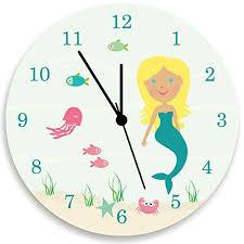 Amazon Com Mermaid Wall Clock Kids Wall Clock Under The Sea Mermaid Wall Clock Ocean Theme Children Room Decor Blond Hair Handmade