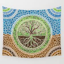 yggdrasil tree of life dot art 1 wall